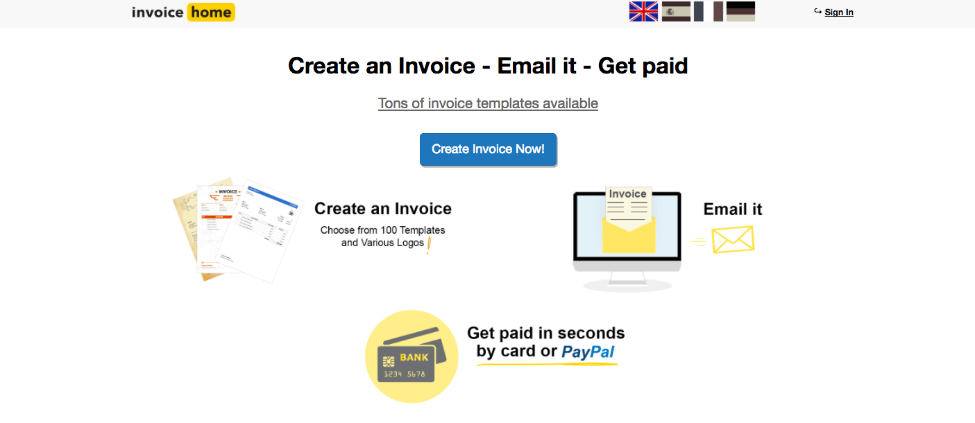 InvoiceHome Demo - Invoicehome+homepage+freetemplates.png