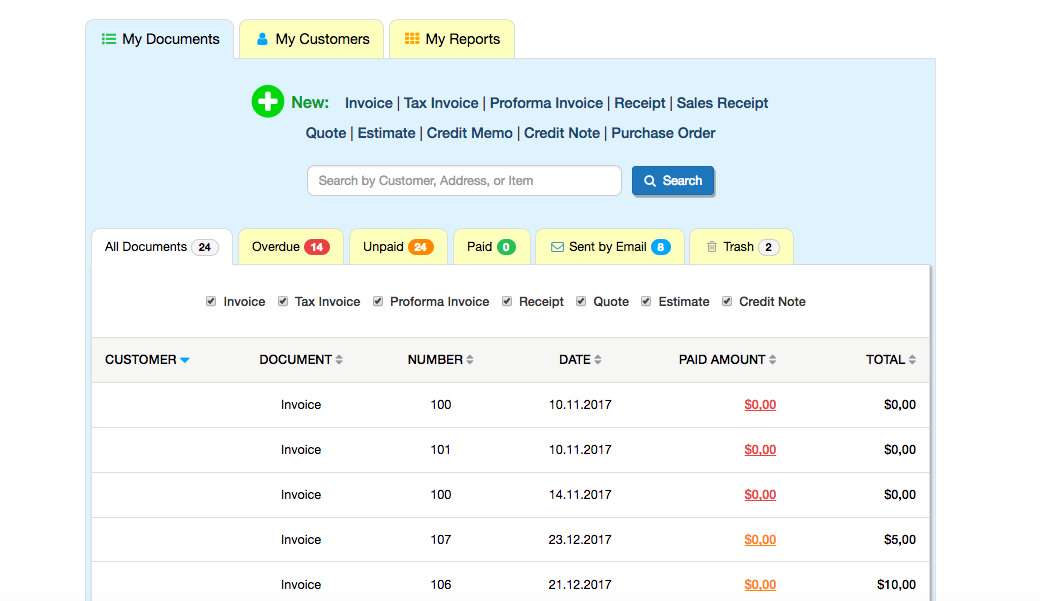 InvoiceHome Demo - Invoicehome+dashboard+customerlist.png