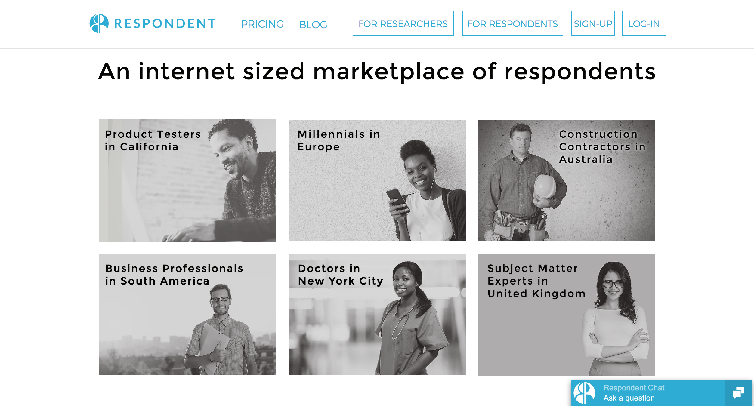 Respondent Demo - Internet sized marketplace of respondents