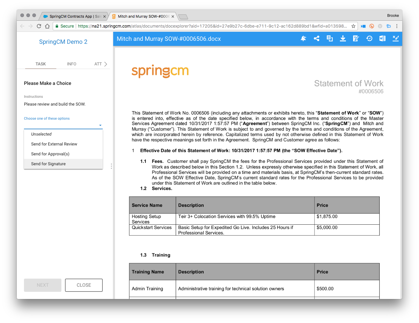 SpringCM Contract Management Demo - Review and Approve before Sending