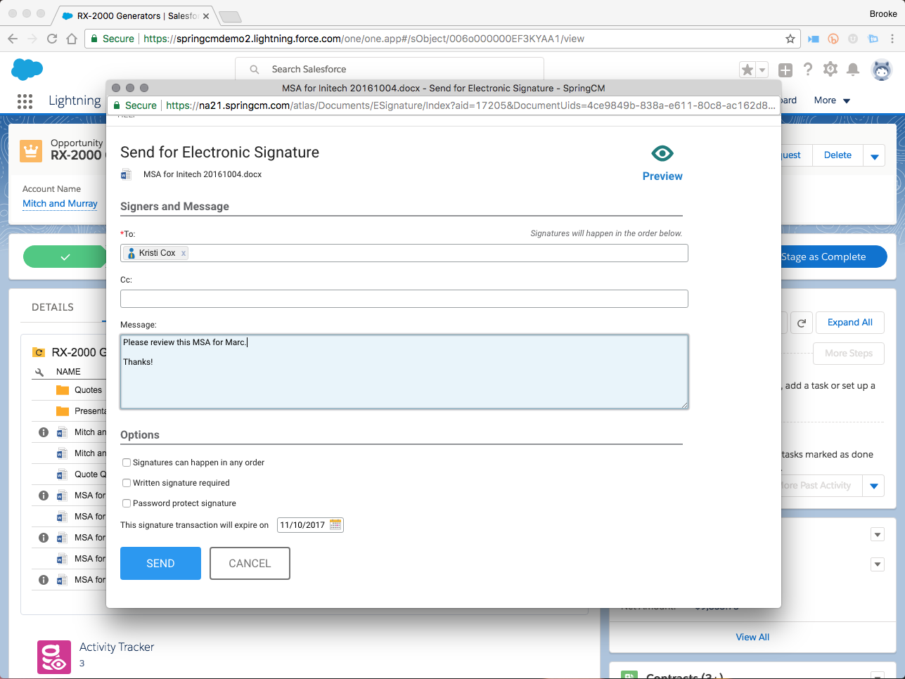 SpringCM Contract Management Demo - Send for E-Signature
