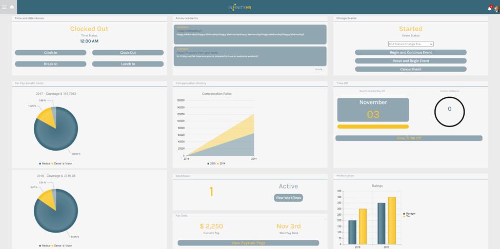 InfinityHR Demo - Employee Portal Homepage