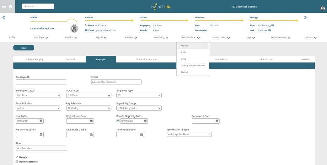 InfinityHR Demo - Admin Portal Employee Menu