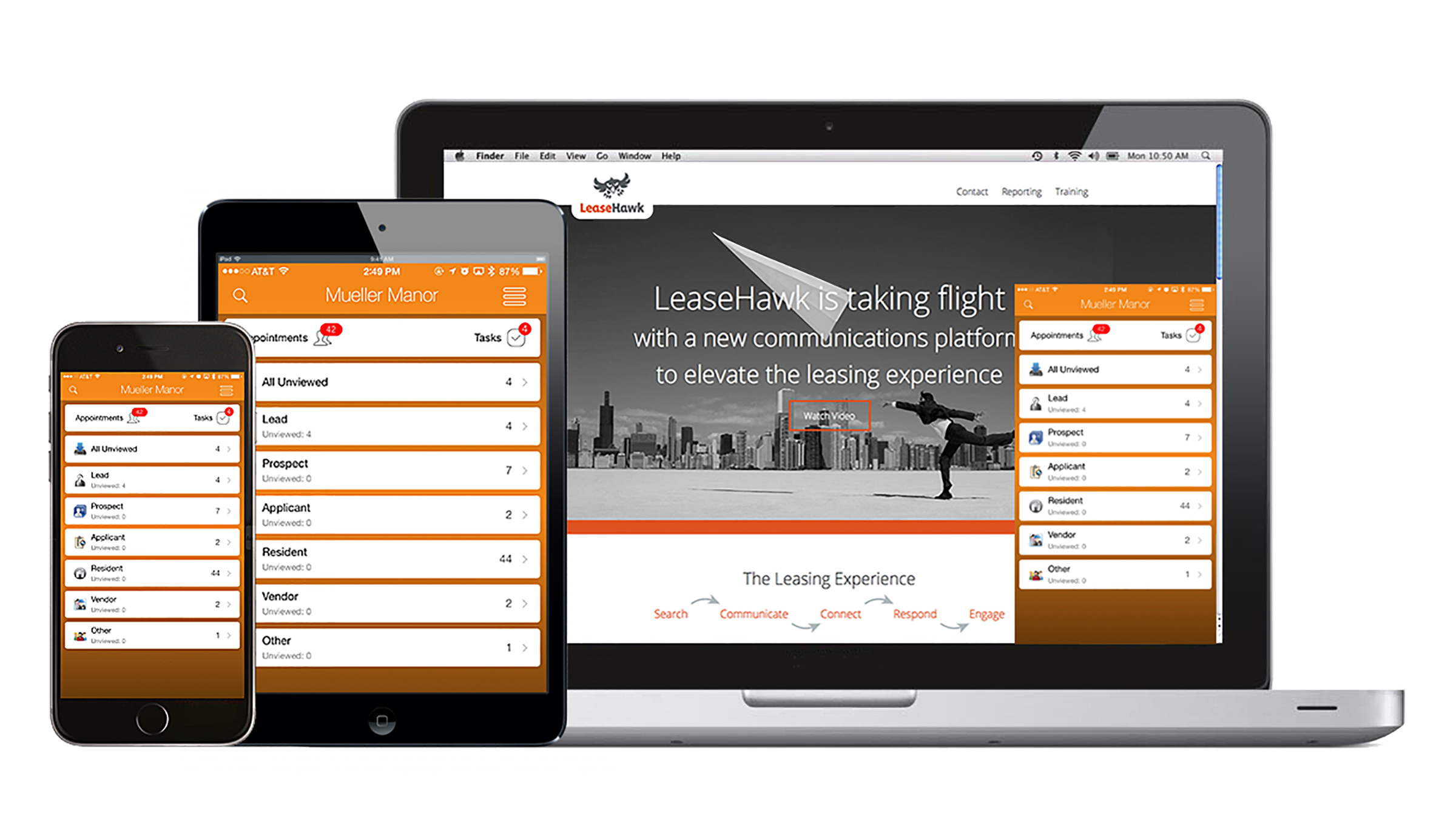 LeaseHawk Demo - The LeaseHawk CRM on mobile, tablet and desktop.