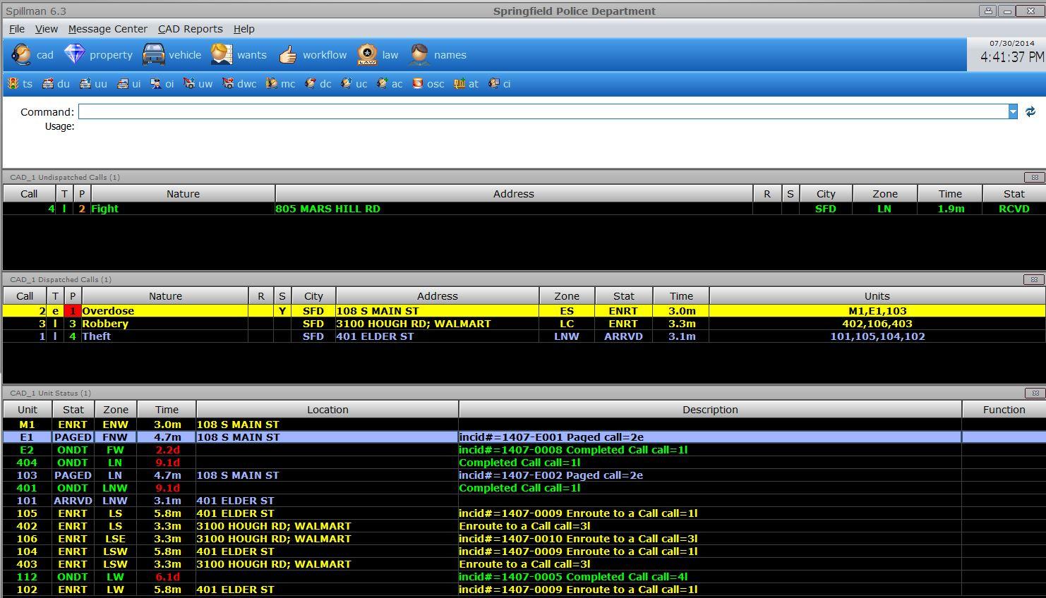 Flex Demo - Computer-Aided Dispatch (CAD)