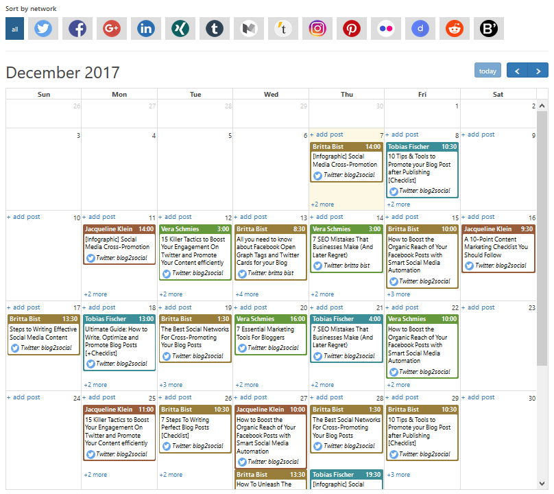 Blog2Social Demo - Schedule and edit your posts with the Drag&Drop Social Media Calendar