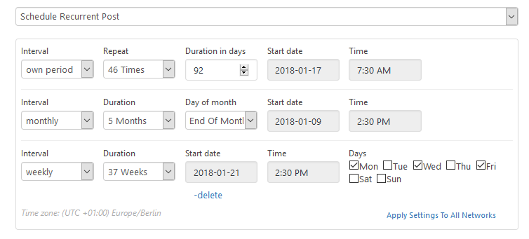 Blog2Social Demo - Set your own individual posting interval and schedule your social media posts once or recurrently over several days, weeks and months.