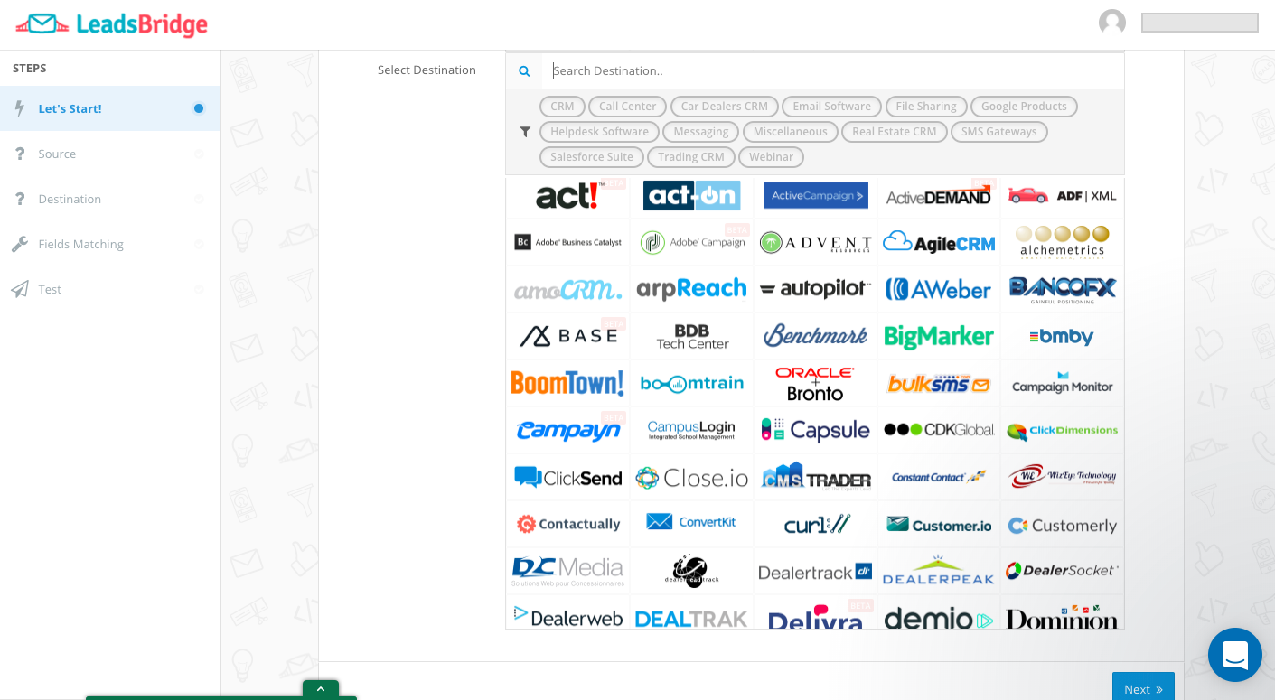 LeadsBridge Demo - Integrate over 240 CRM, Email software and miscellaneous online tools