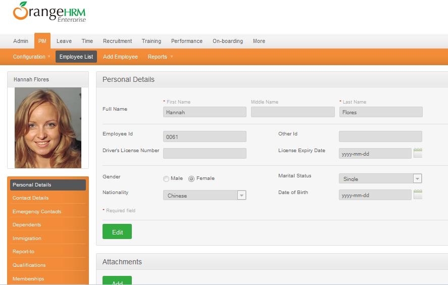 OrangeHRM Demo - Personnel Information Management