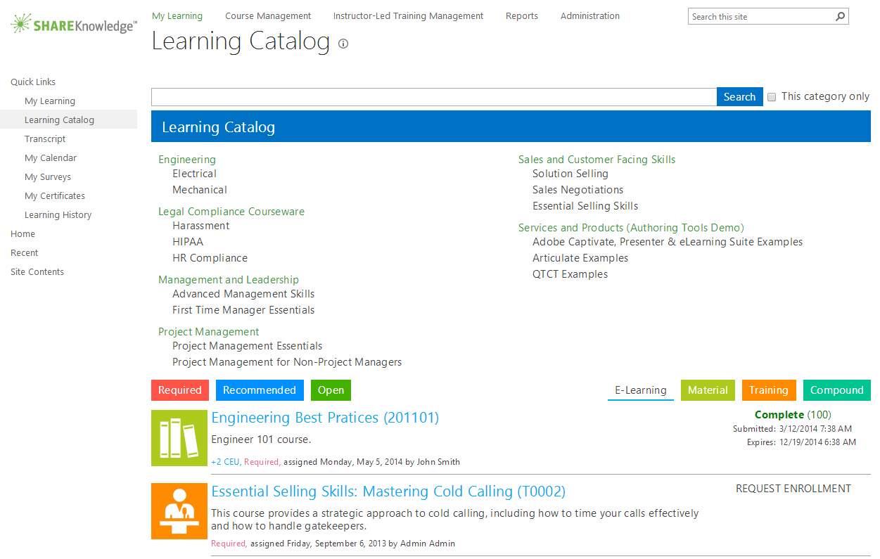 ShareKnowledge LMS Demo - Learning Catalog - ShareKnowledge LMS on SharePoint