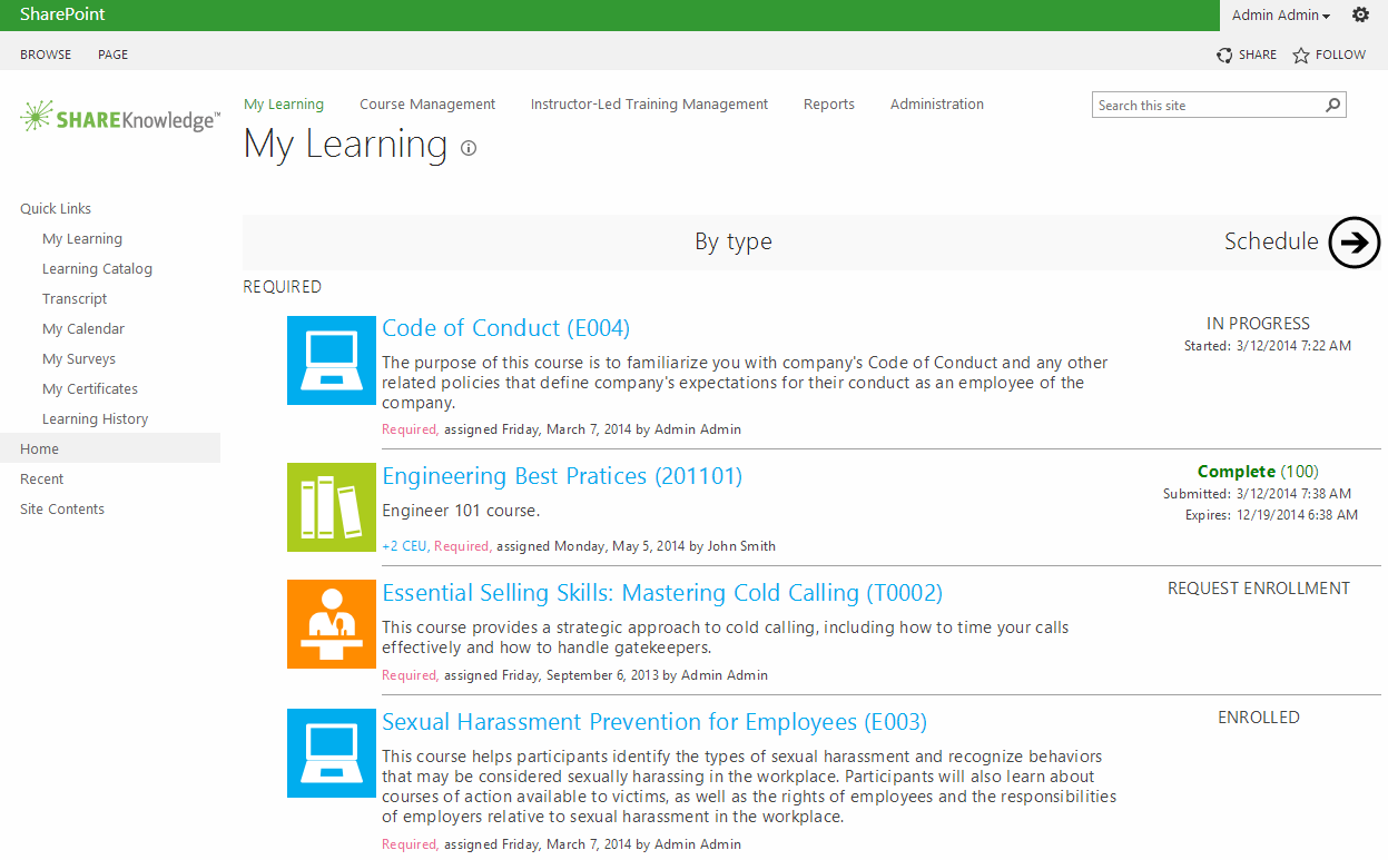 ShareKnowledge LMS Demo - My Learning - User View of LMS | ShareKnowledge on SharePoint