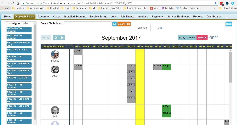 Fieldax Field Service Management Demo - 5-+Dispatch+board.PNG