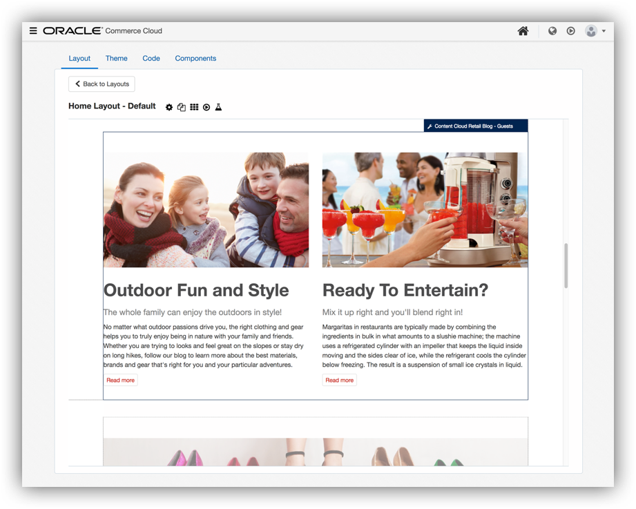 Oracle Commerce Cloud Demo - Layout and Design Editor