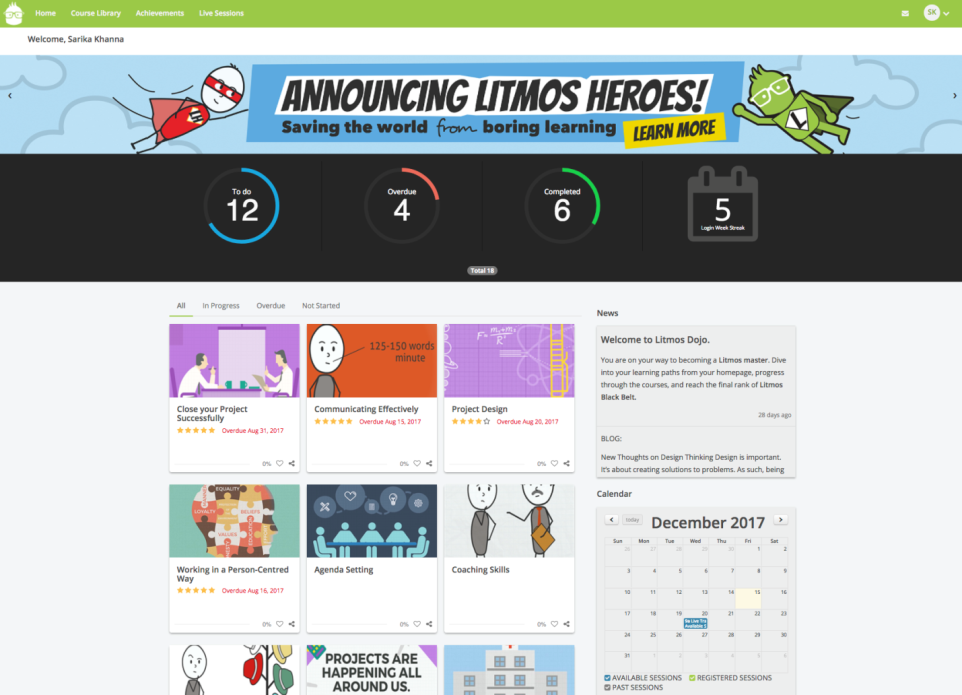 Litmos by CallidusCloud Demo - Learner Home Page