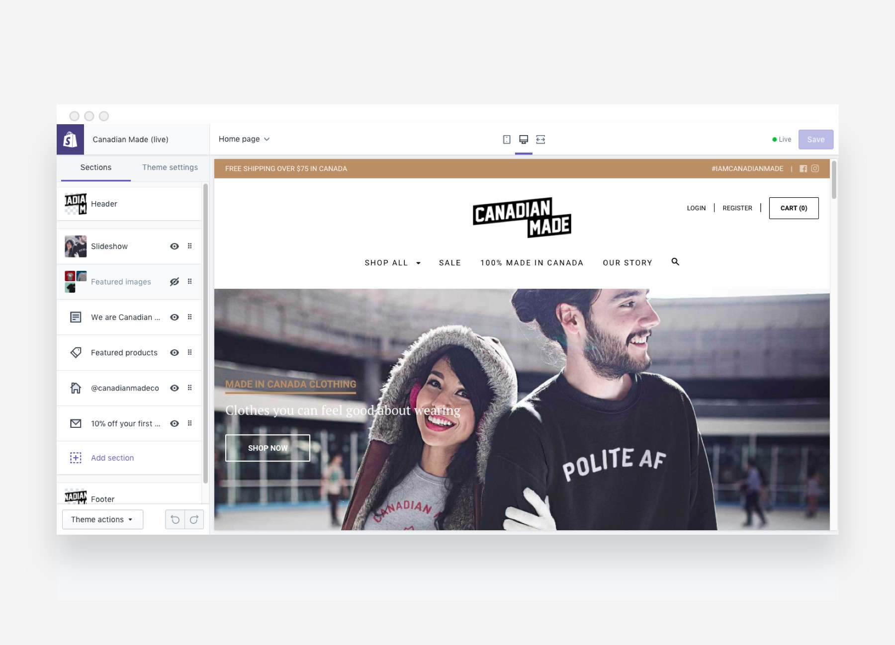 Shopify Plus Demo - Theme editor