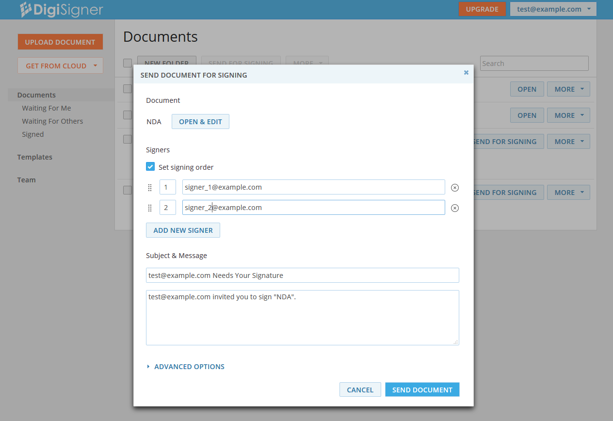 DigiSigner Demo - Send document for signing
