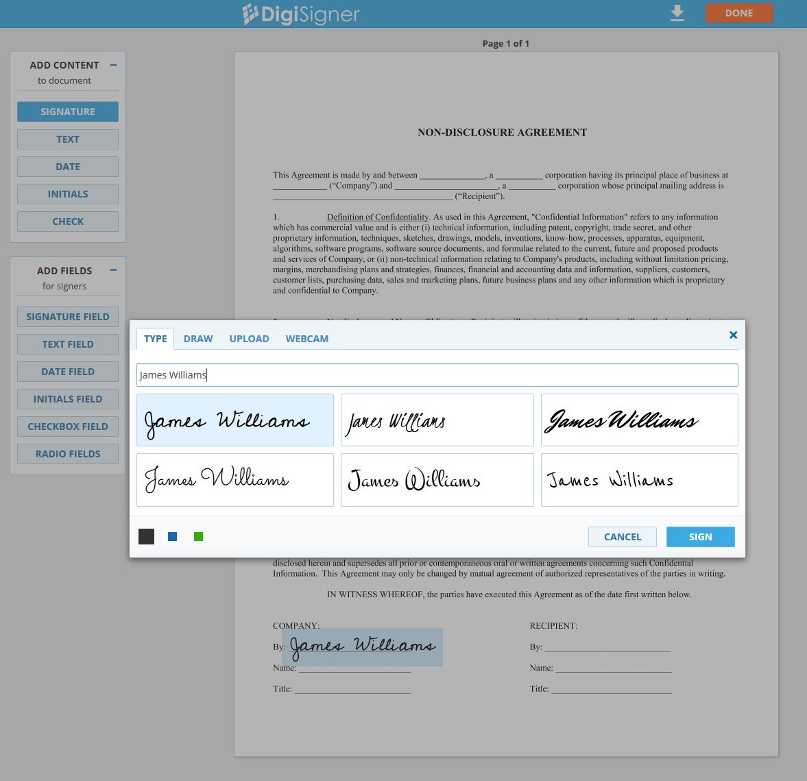 DigiSigner Demo - Sign document
