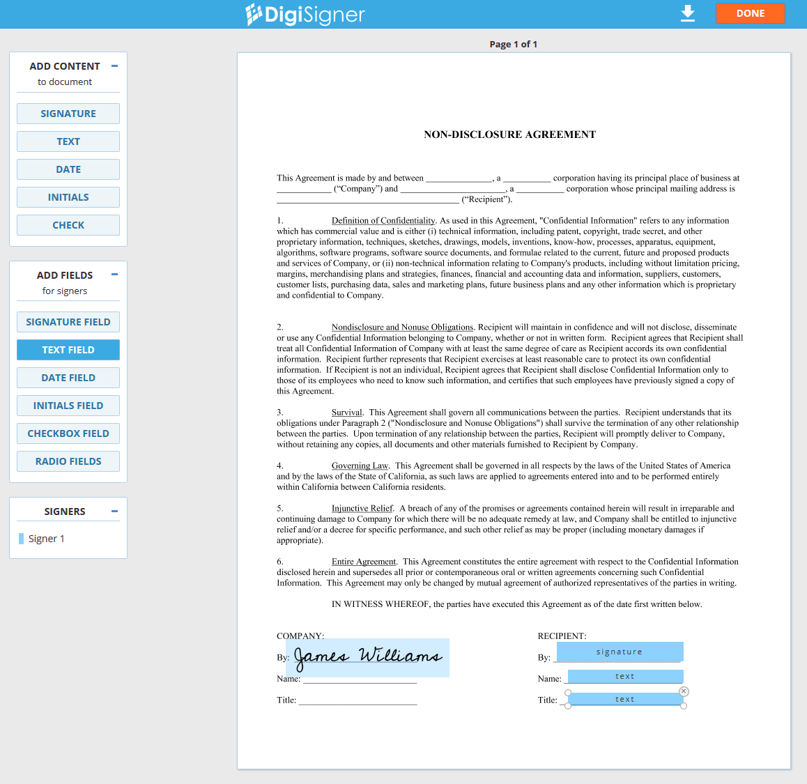 DigiSigner Demo - Add fields to document