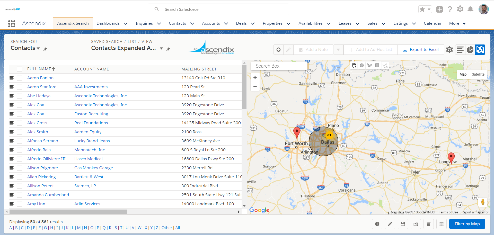 AscendixRE Demo - Display Properties, Leases, Accounts on Map