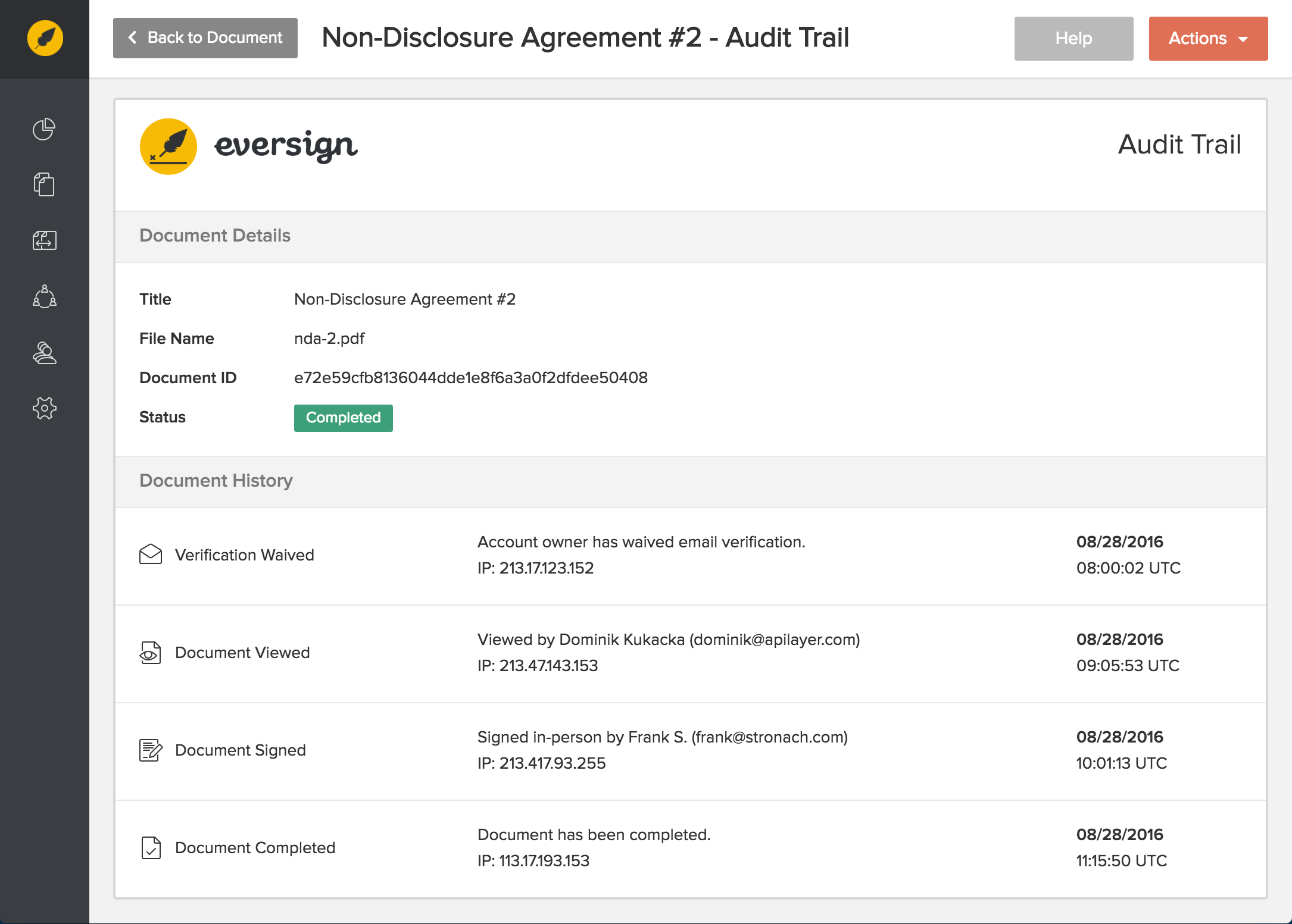 eversign Demo - Audit Trail