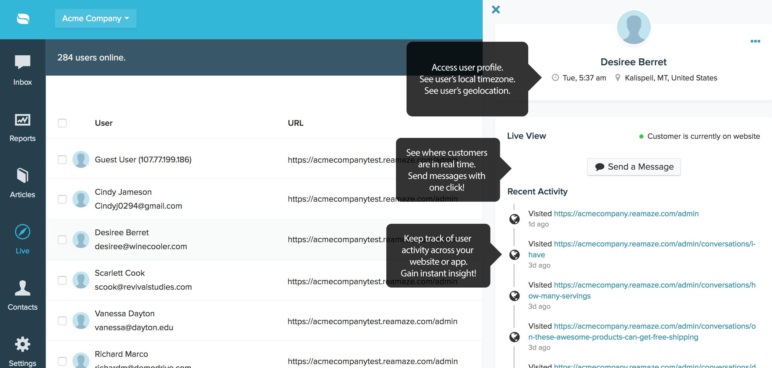 Reamaze Demo - Live Dashboard for Customer Monitoring