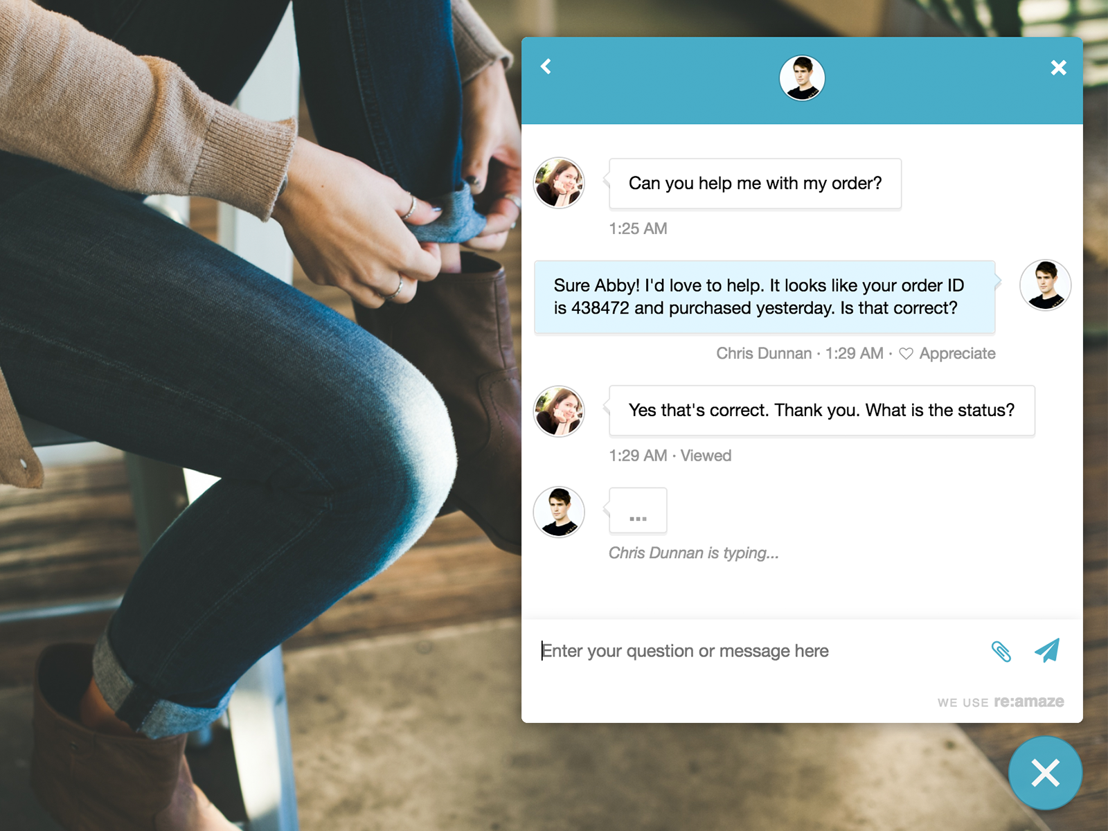 Re:amaze Demo - Live Chat UI