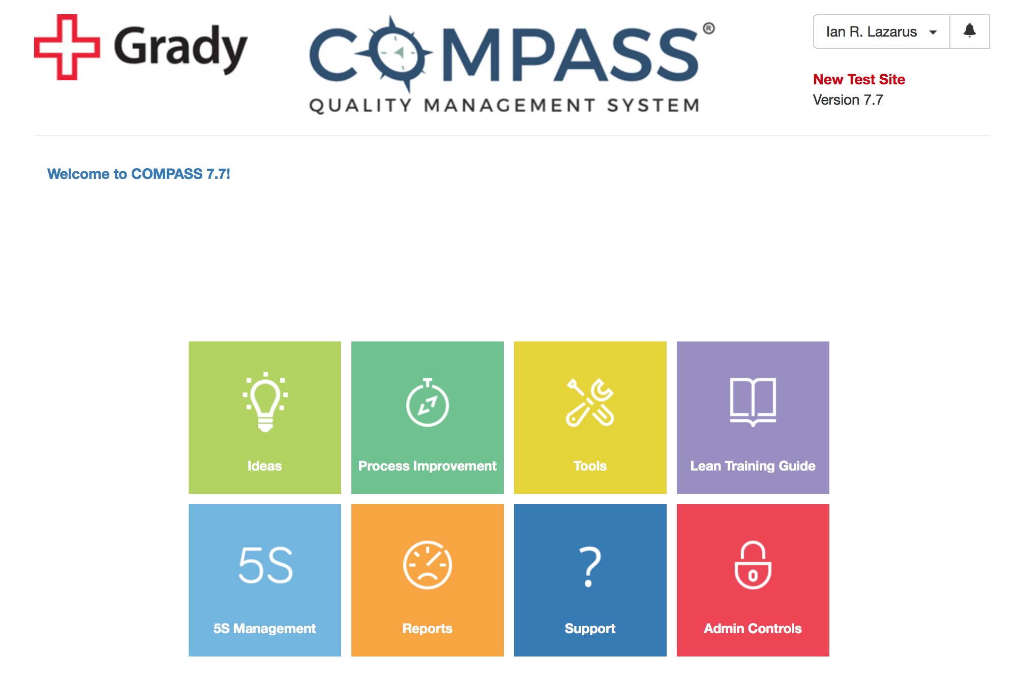 COMPASS® Quality Management System Demo - COMPASS Main Menu
