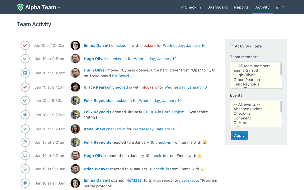 Status Hero Demo - View and filter a real-time stream of all team activity in one place.