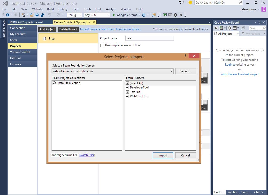 Review Assistant Demo - Team Foundation Server integration