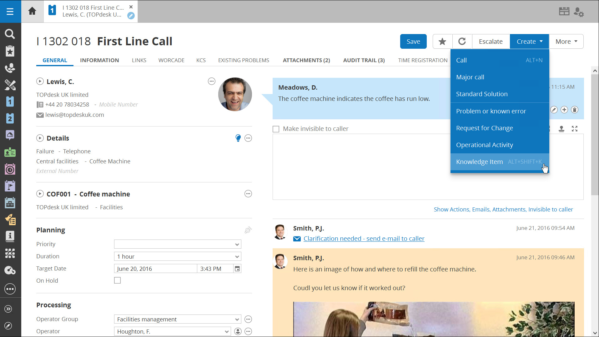 TOPdesk Demo - First Line Call