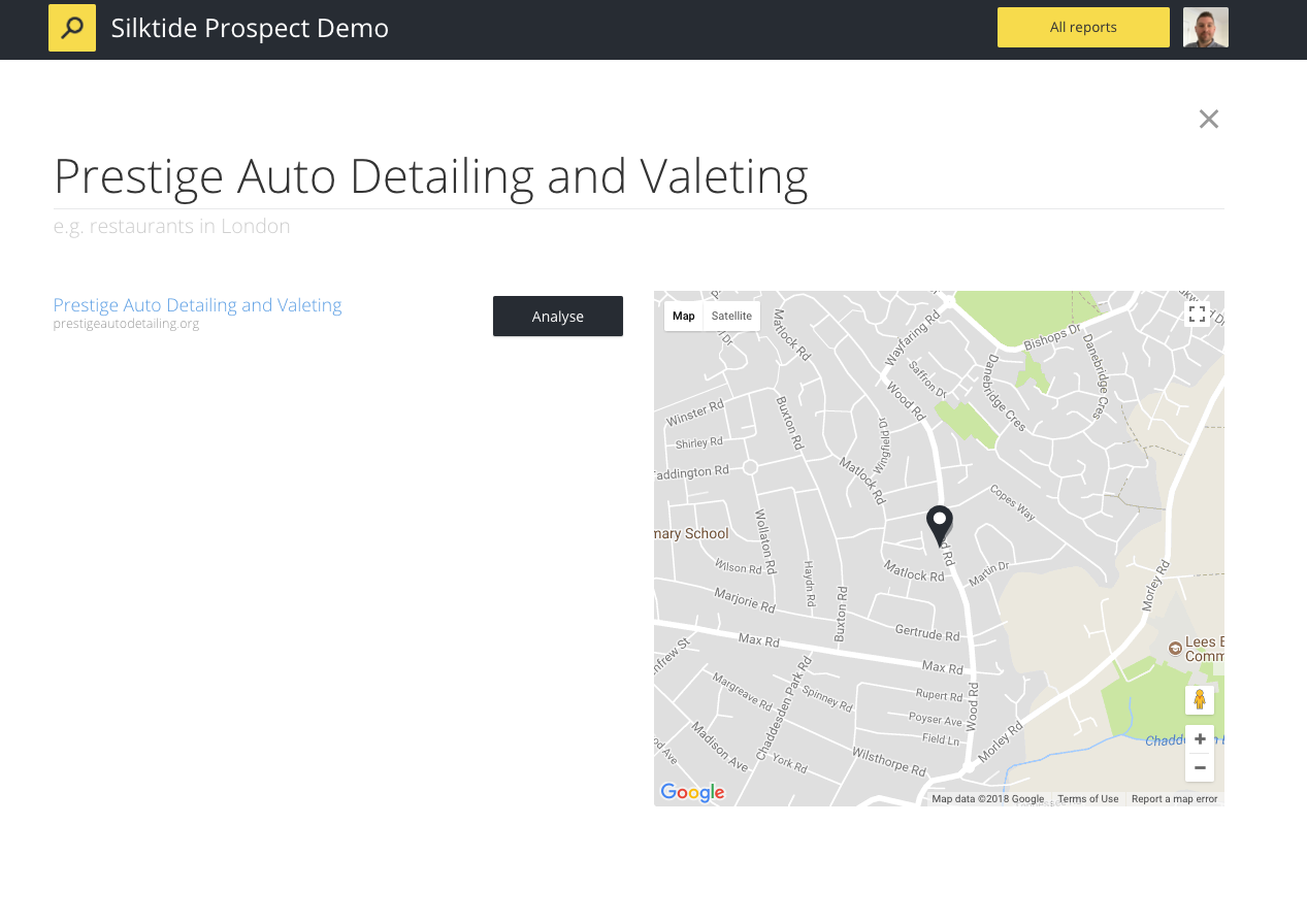Silktide Prospect Demo - Search by business name