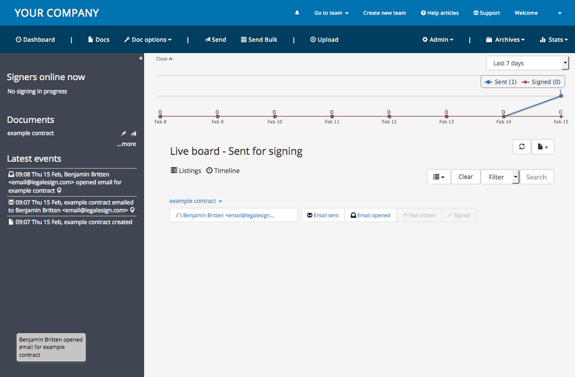 Legalesign Demo - Standard home page