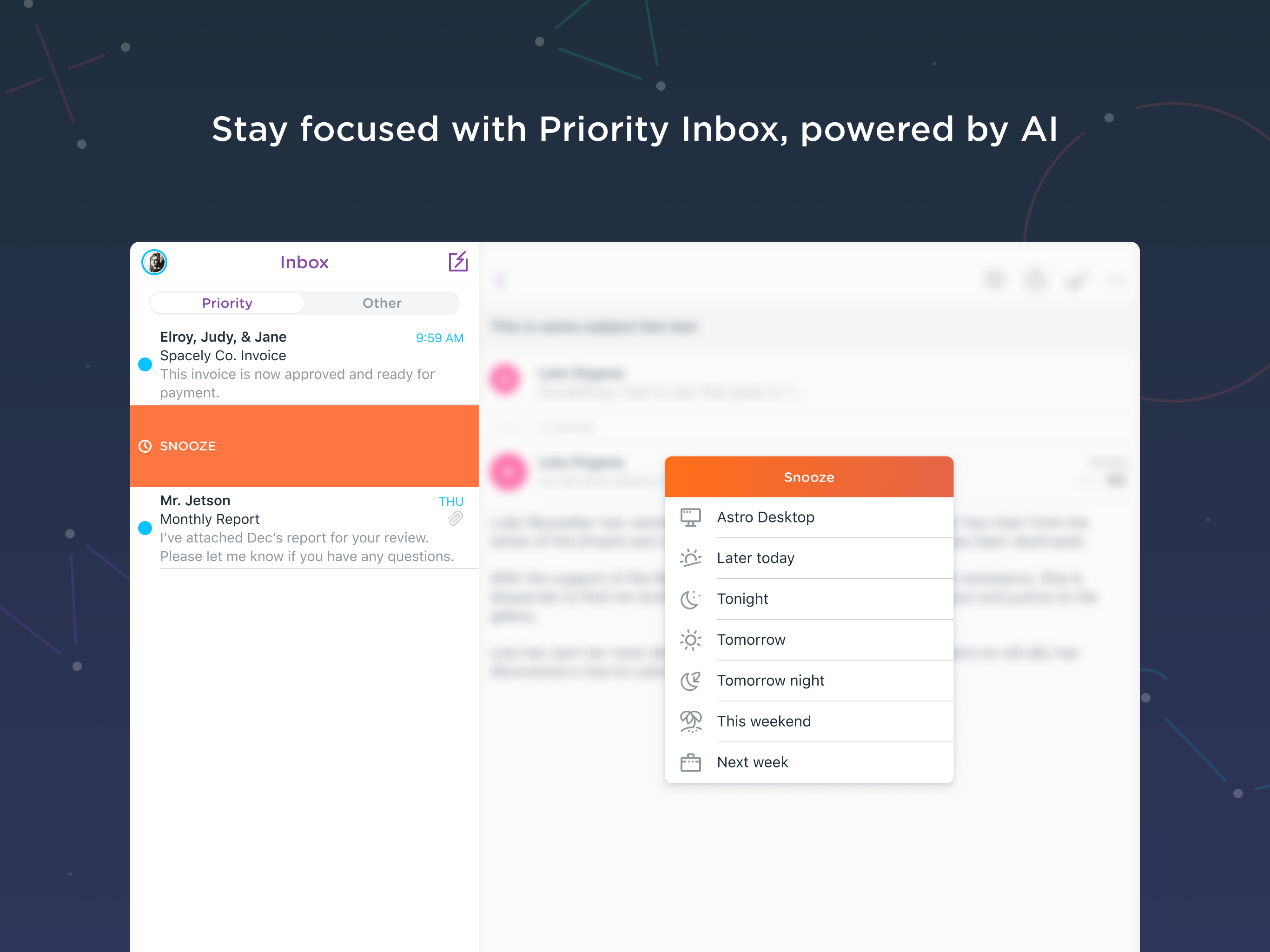 Astro Demo - Stay focused with Priority Inbox