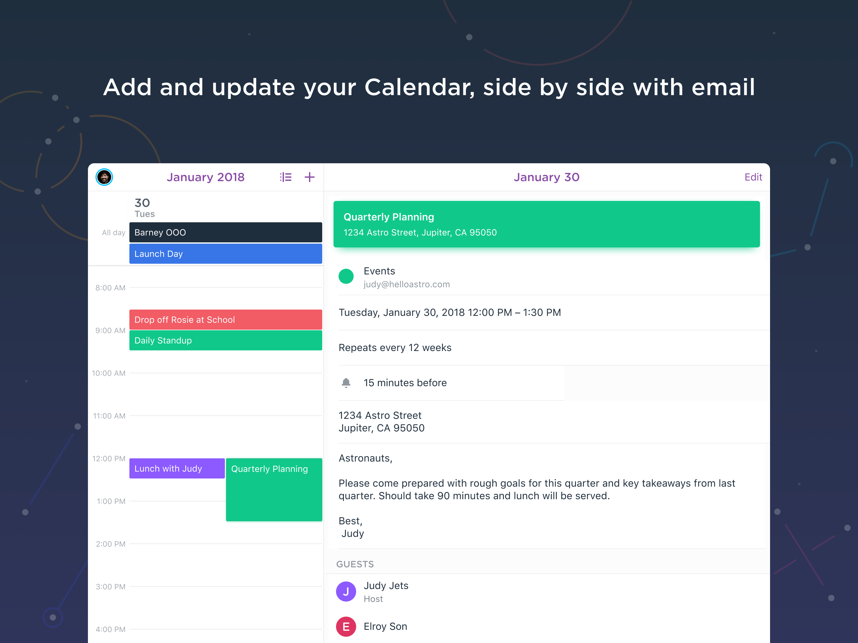 Astro Demo - Add and update your Calendar, side by side with email