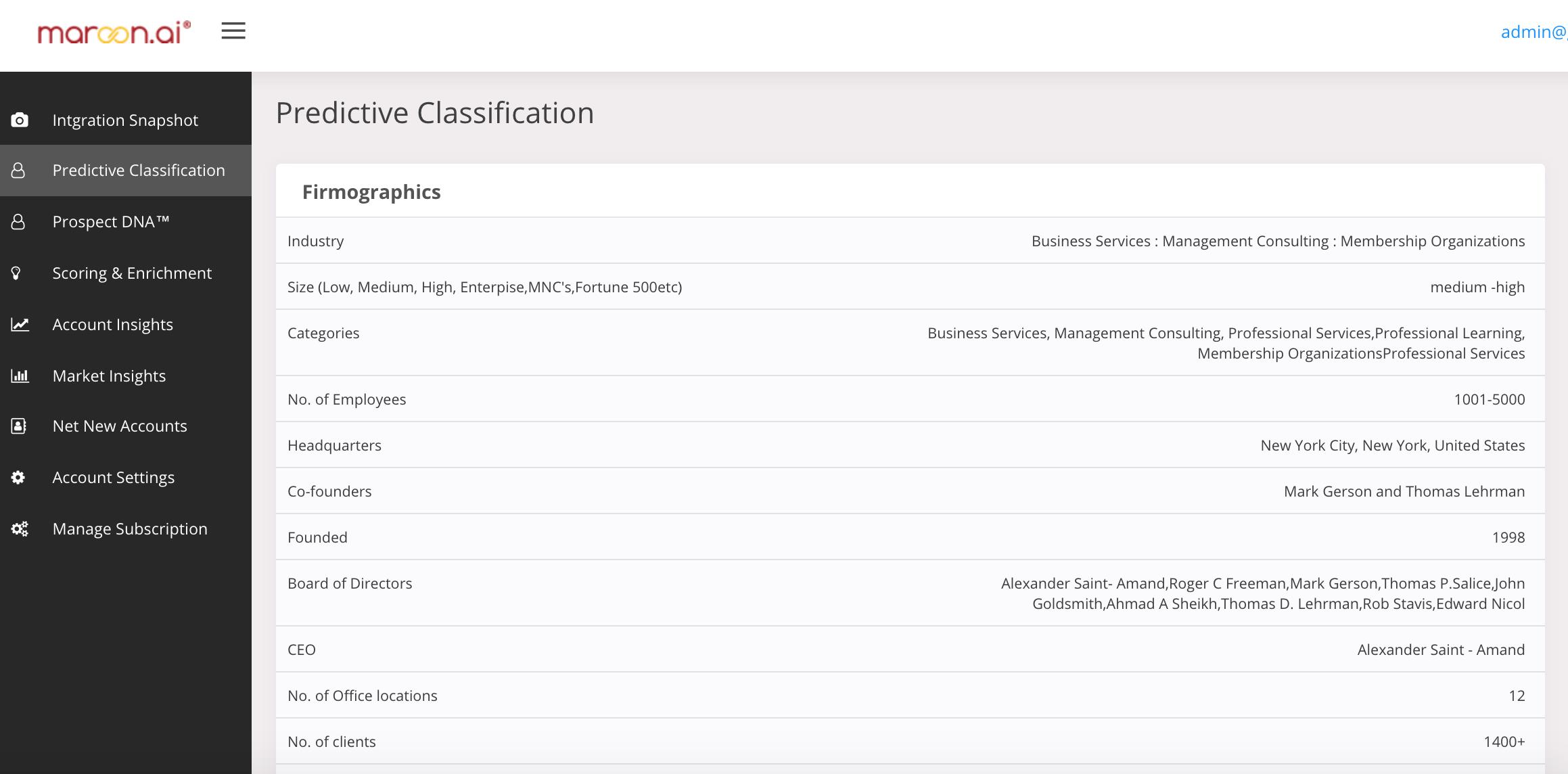 Maroon.ai Demo - Predictive Classification (ICP)