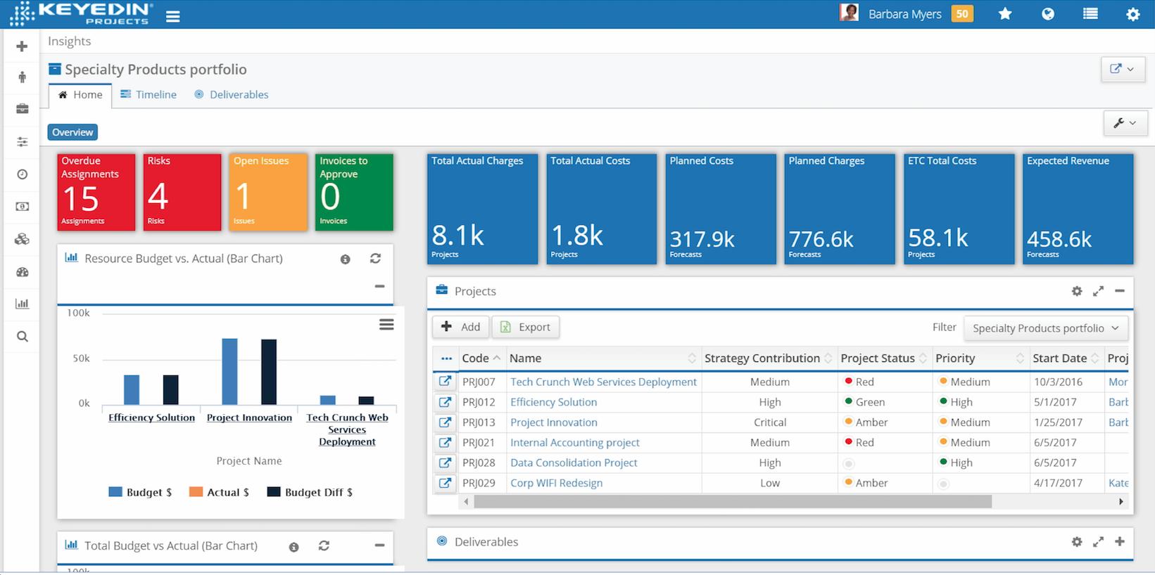 KeyedIn® Projects Demo - Portfolio Management