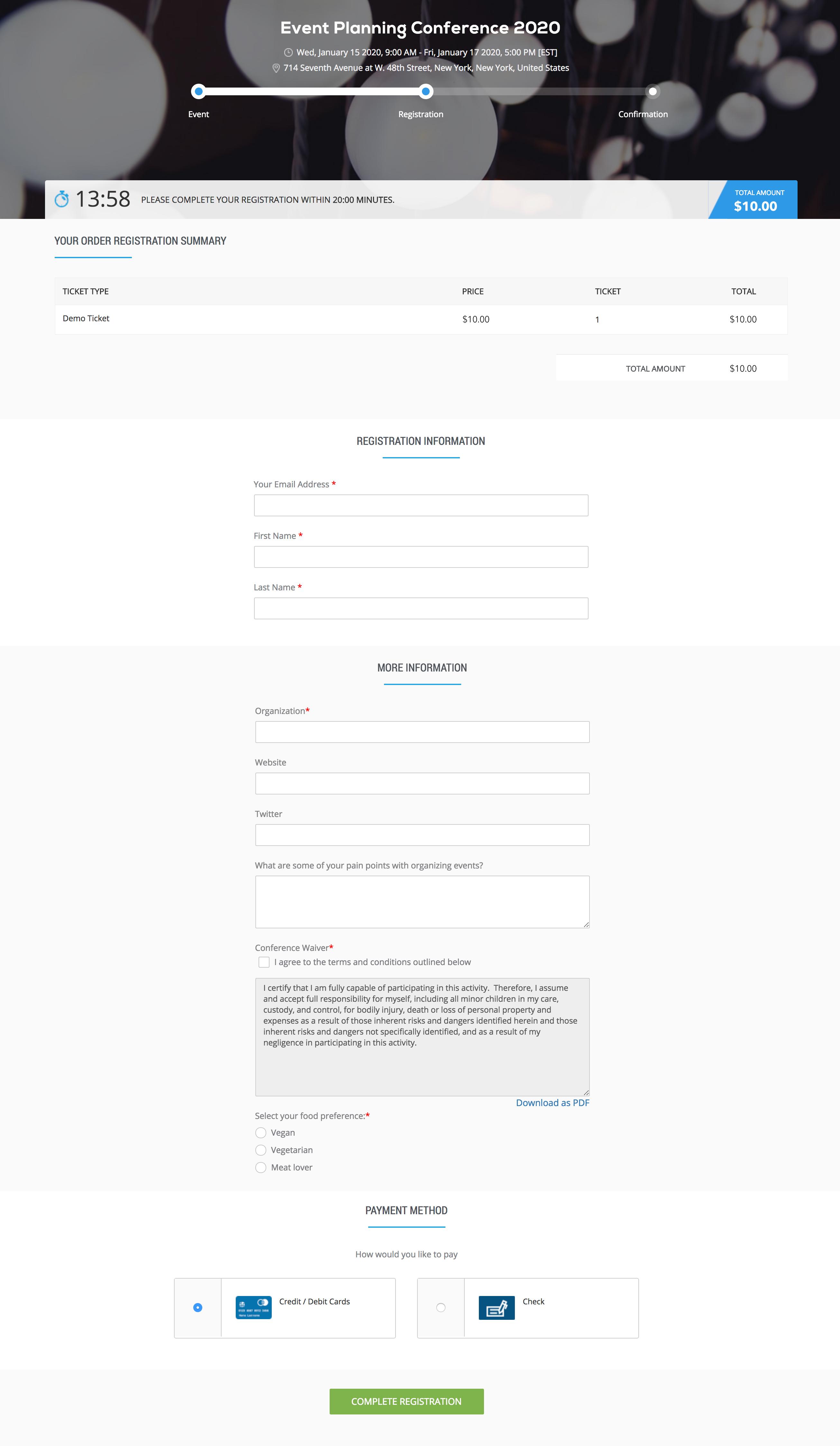 Eventzilla Demo - Customizable Registration Form