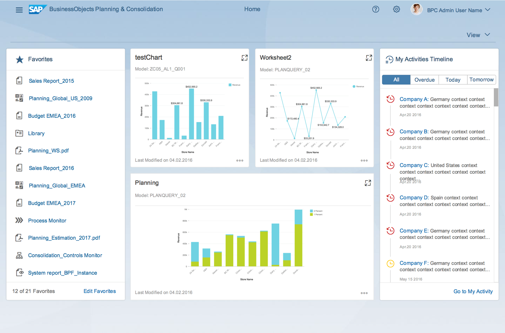SAP Business Planning and Consolidation (BPC) Demo - BPC_HomeScren.png