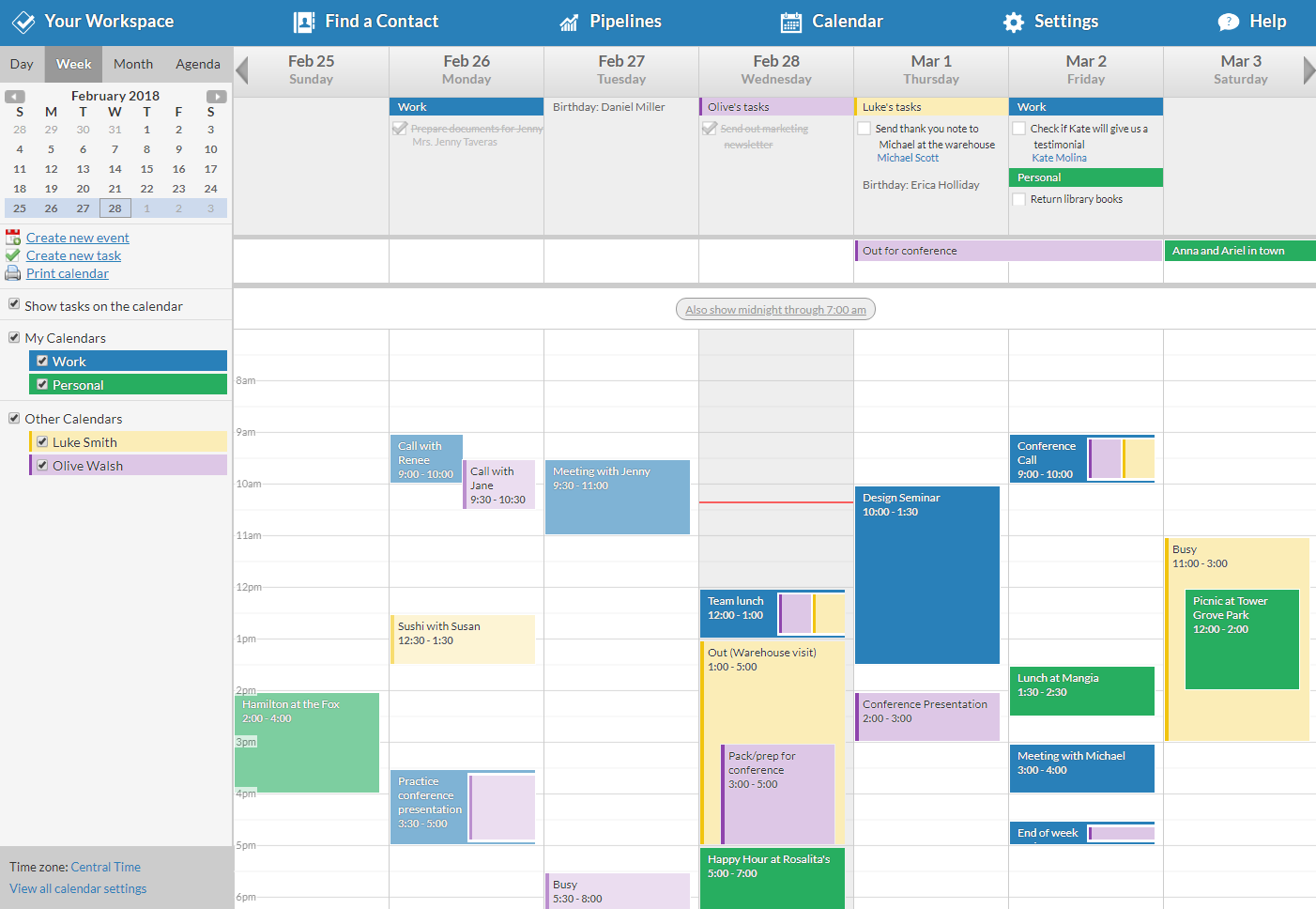 Less Annoying CRM Demo - Calendar