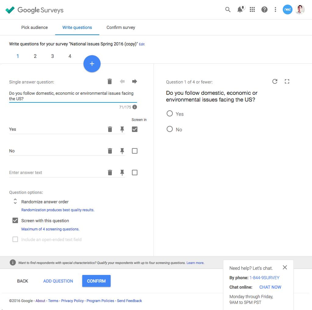 Google Surveys Demo - Surveys Question Editor