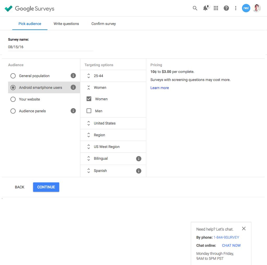 Google Surveys Demo - Surveys Targeting
