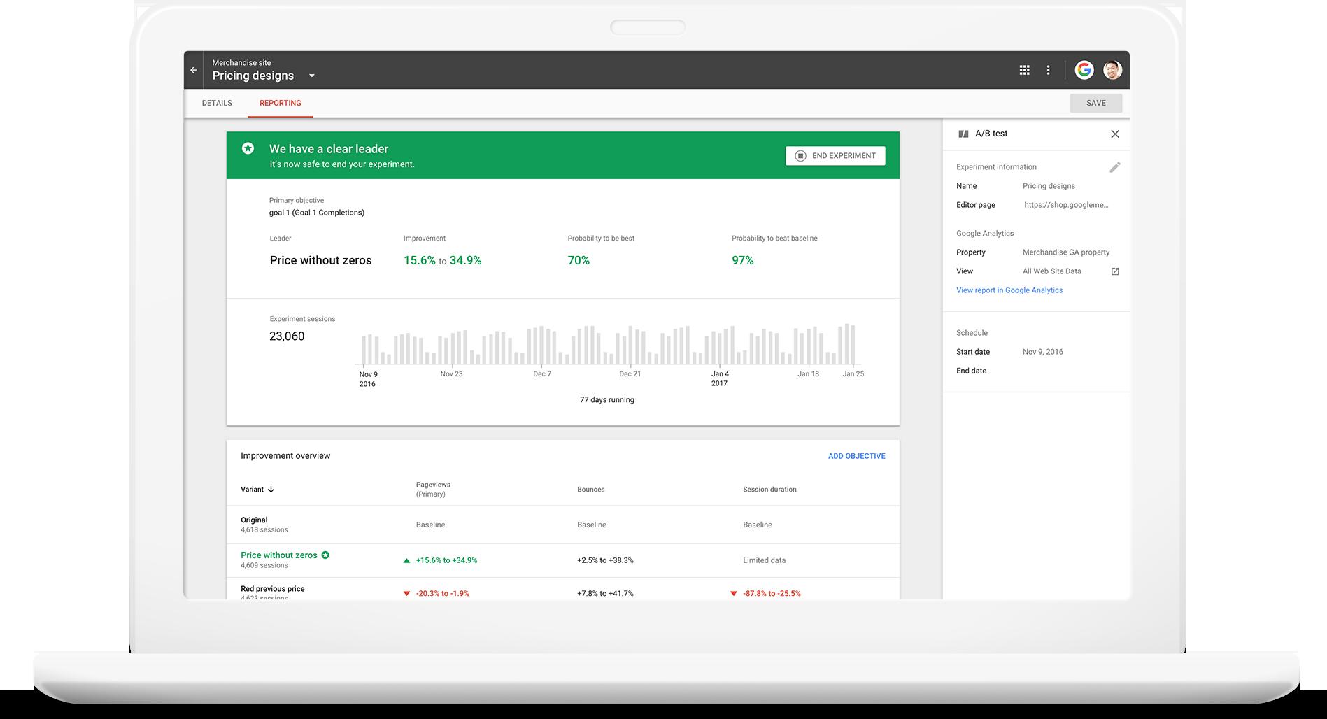 Google Optimize Demo - Optimize Test Results