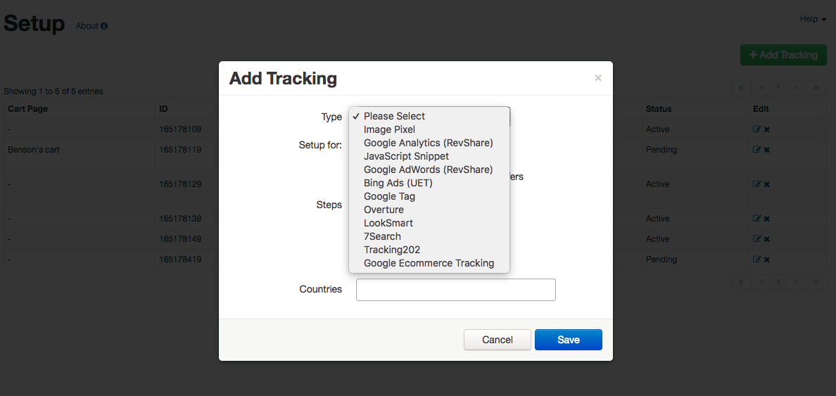 PayMotion Demo - Tracking Options
