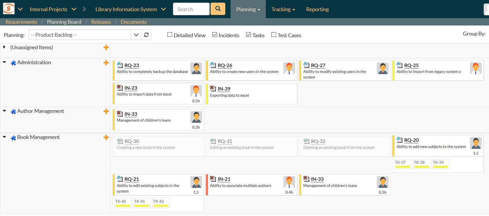 SpiraTeam Demo - SpiraTeam - Planning Boards - Agile Scrum / Kanban
