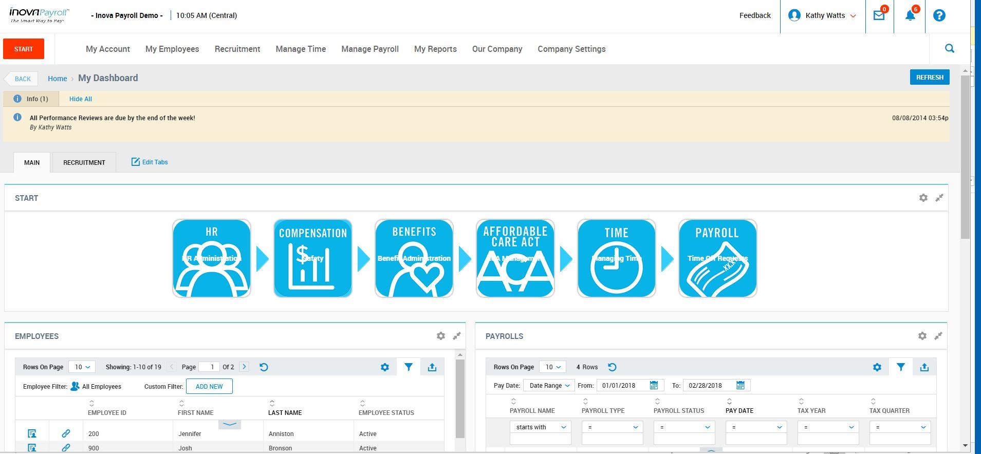 Inova Payroll Demo - Inova HCM Admin Dashboard