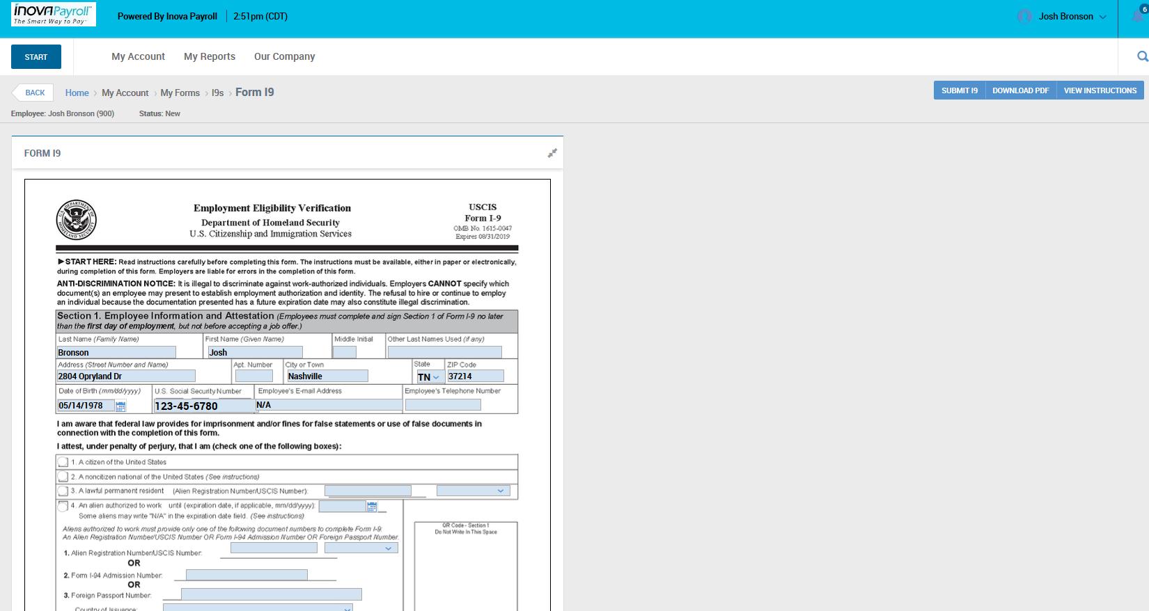 Inova Payroll Demo - Inova HCM Employee Onboarding