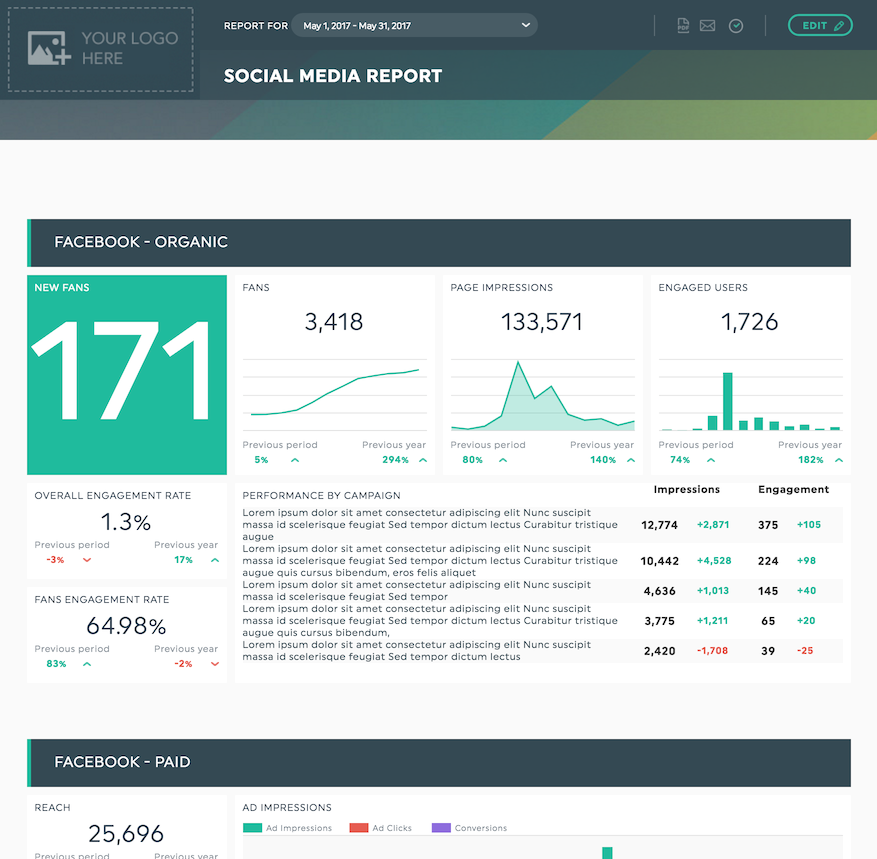 DashThis Demo - Social Media Report Template