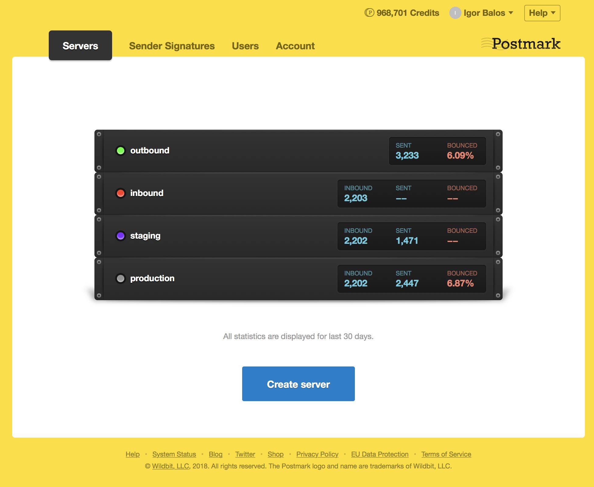 Postmark Demo - Server List
