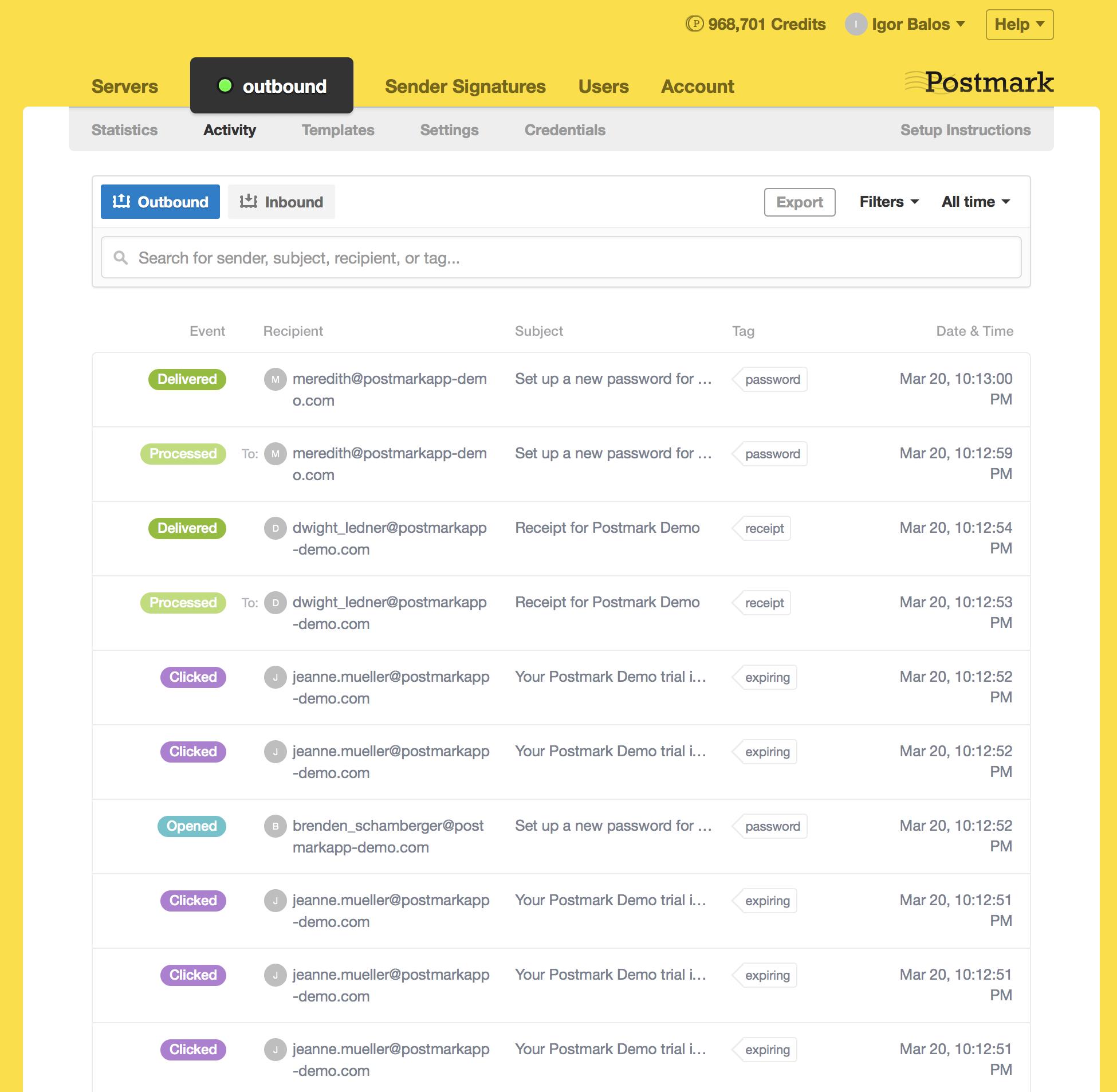 Postmark Demo - Server Activity Stream